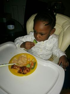 Rice with veggies and grilled chicken! My daughter loves Broccoli!