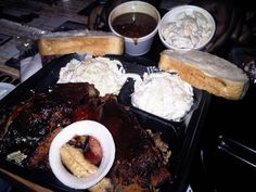The Shed- Ocean Springs, MS. If you love sweet, delicious BBQ... this is the place. Twice baked potato salad, macaroni & cheese, cole slaw, baked beans and white bread to sop up that brown sugar sauce MMM I'm a SHEDHEAD.