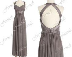Straps Sweetheart Long Chiffon Gray Bridesmaid Dresses by Formals, $139.00
