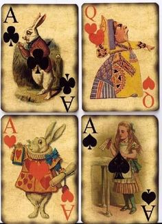Alice in Wonderland playing cards.when too much Alice is never enough. Alicia Wonderland, Adventures In Wonderland, Wonderland Party, Lewis Carroll, Art Altéré, Chesire Cat, Vintage Playing Cards, Vintage Cards, Mad Hatter Tea