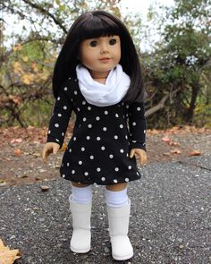 I made this outfit for Jasmine. It started out from a white T-shirt from my son and polka dot one of my own.