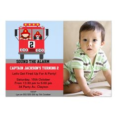 Boys Firetruck Photo Birthday Party Invitation
