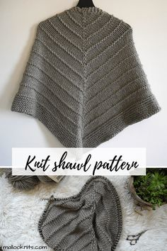 Easy knit triangle scarf, great for beginners. If you know how to increase, then you can make this knitted triangle shawl. In order to make this knit triangle wrap you will need super bulky yarn and US mm knitting needles. Easy Knitting, Knitting Needles, Knitting Tutorials, Knitting Ideas, Knitting Projects, Free Knitting Patterns For Women, Shawl Patterns, Crochet Patterns, Hand Dyed Yarn