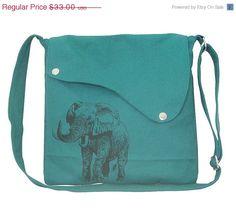 Valentine Sale - 10% off teal green cotton canvas messenger bag / shoulder bag  with screen print, elephant