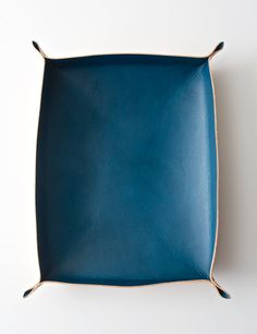 Hand Dyed Blue Leather Tray, Large