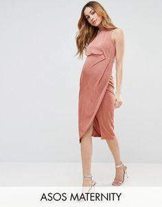 ASOS Maternity High Neck Tie Side Midi Bodycon Dress - Pink