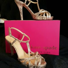 kate spade strappy heels. Beautiful Gold strappy sandals. A Leopard pattern with metallic gold and a matte tan, mostly gold. They look great with denim or a sexy little black dress (or a wedding dress in my case)! Size 8, they fit true to size or very slightly small. kate spade Shoes Heels