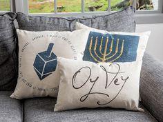 Hanukkah pillows from Peace Love Light