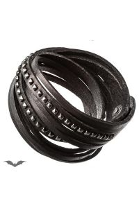 Queen of Darkness - Kunstleder Wickelarmband mit Nieten