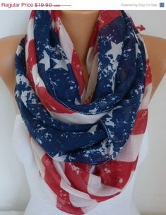 Vintage American Flag Scarf American Scarf Cotton Star by fatwoman