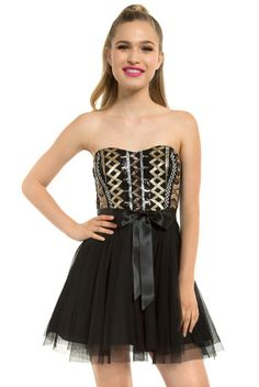 Be the life of the party in this fun and flirty Teeze Me dress!  This strapless item features ethnic pattern metallic sequin bodice, four layer party skirt, and satin sash.  Lightly padded top with side boning, elastic back and zip closure.  Purchase yours now!