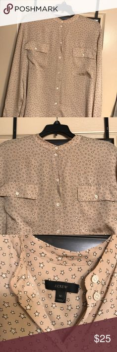 J.crew start buttoned down silk blouse Very cute silk blouse with white mini stars ⭐️ J. Crew Tops Button Down Shirts