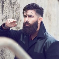 Chris John Millington - full thick dark beard big mustache beards bearded man men mens style model male fashion winter cold clothing jacket coat grooming hair haircut barber handsome #beardsforever