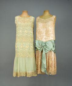 two silk and lace tea dress 30s Fashion, Art Deco Fashion, Fashion History, Trendy Fashion, Vintage Fashion, Victorian Fashion, 1920s Fashion Dresses, Flapper Dresses, Fashion Fashion