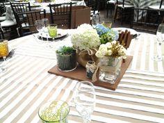 Centro de mesa de hortensias suculentos ect