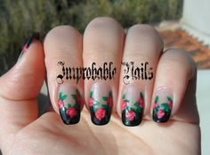 """Improbable Nails: """"Red Roses on Black French"""" nails (inspired by Robin Moses)"""