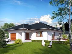 Projekt domu MT Ariel 2 paliwo stałe CE - DOM - gotowy koszt budowy Ariel 2, My House Plans, Bungalow House Design, Home Projects, Tiny House, Smart Home, Shed, New Homes, Outdoor Structures