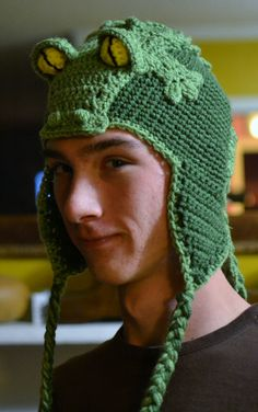 Snappy Simon the Alligator hat that I crocheted for my son. Ira Rott pattern.