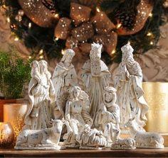 Sparking Ivory Nativity Scene, Set of 11 White Nativity Set, Nativity Scene Sets, Christmas Nativity Scene, Christmas Mood, Merry Christmas And Happy New Year, Nativity Scenes, Christmas Stuff, Christmas Ideas, Christmas Crafts