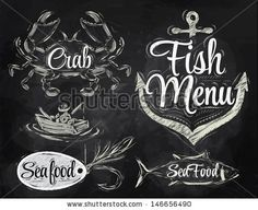 Set collection of seafood and fish menu with crab fisherman and fish and anchor baited hook and stylized for the drawing with chalk on the b...