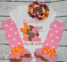 My first thanksgiving personalized embroidered baby girls OTT outfit turkey set feather hair bow headband