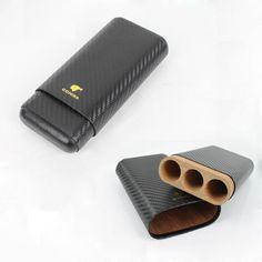 COHIBA Carbon Fiber Black Cigar Holder Travel Case 3 Cedar Wood Tube Free Shipping $33.64