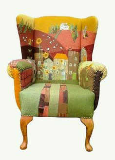 / appliqué and patchwork chair / Painted Chairs, Hand Painted Furniture, Funky Furniture, Upholstered Furniture, Upcycled Furniture, Unique Furniture, Furniture Makeover, Furniture Design, Garden Furniture