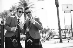 Dapper Scottish Grooms At Same Sex Wedding In Las Vegas Chapel Of The Flowers LGBTQ Weddings Offered Venue