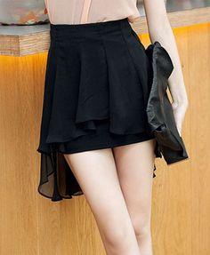 Chiffon Skirt in Dipped Hem chicnova