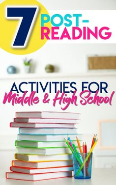 Looking for unique post-reading activities to inspire students and provide a sample of their analytical skills? Find high-interest strategies for secondary. 7 post-reading activities and project ideas for middle and high school Post Reading Activities, High School Activities, Reading Projects, Reading Strategies, Reading Skills, Teaching Reading, Reading Resources, Secondary Activities, Learning
