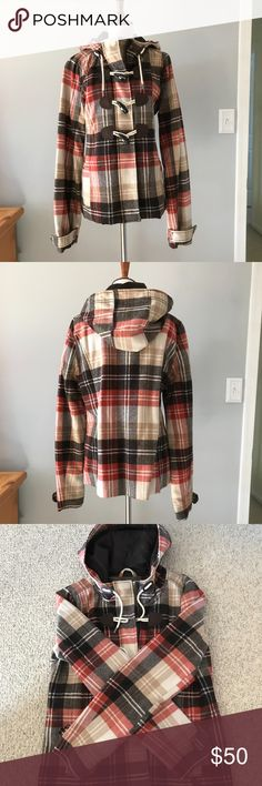 ABERCROMBIE CHECKERED TOGGLE COAT A&F Pre-loved and in great condition hooded toggle coat.  This is a warm, wool blend coat. Abercrombie & Fitch Jackets & Coats