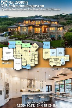 Architectural Designs Modern House Plan gives you 3 - 4 beds, baths and sq. of heated living space! House Plans Mansion, Garage House Plans, Luxury House Plans, Dream House Plans, Modern House Plans, Modern House Design, House Floor Plans, Car Garage, Architecture Design