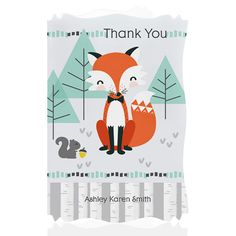 Mr. Foxy Fox - Baby Thank You Cards With Squiggle Shape $0.99