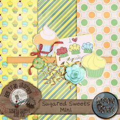 free digi scrapbook kit -Cutest cupcake paper EVER!