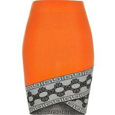 River Island Orange knitted pattern hem pencil skirt