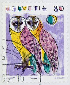 great stamp Helvetia 80 r. postage owl Tyto alba Tytonidae barbagianni Switzerland poste timbre Suisse sello Suiza francobolli Svizzera Tyto alba Tytonidae barbagianni 仓鸮 by stampolina -on Flickr.