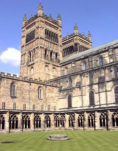 Durham Cathedral. I figured out that this must be that one courtyard closer to the Quidditch pitch and the North Towers.