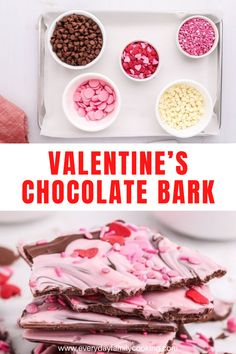 Whether you want to surprise your sweetheart or you're looking for something fun to do with your kids for the holiday, this Valentine's chocolate bark recipe is as fun to make as it is to eat! Valentines Day Chocolates, Valentine Chocolate, Valentines Day Treats, Easy Desserts, Delicious Desserts, Dessert Recipes, Yummy Food, Easy Holiday Recipes, Bark Recipe