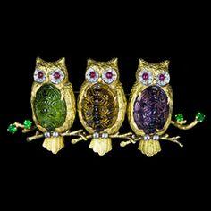 18k yellow Gold Owls Brooch, Amethyst, Citrine, Peridot, Rubies, Diamonds & Emeralds || J.PACETTI Jewelry.