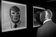 Blue Demon looking at himself,  wrestler lucha libre mask @MaskManiac Lucha Libre Masks.com