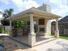 Freestanding Cabana With Hipped Roof Outdoor Fireplace