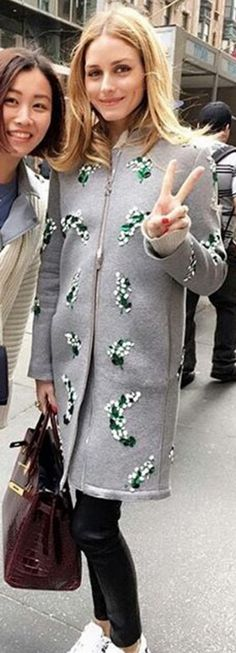 Who made  Olivia Palermo's gray floral coat and red tote handbag?