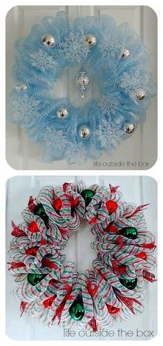 Creative Christmas Deco Mesh Wreath Ideas You are in the right place about DIY Wreath football Here we offer you the most beautiful pictures about the DIY Wreath spring you are looking for. Deco Mesh Crafts, Wreath Crafts, Diy Wreath, Holiday Crafts, Wreath Ideas, Snowman Wreath, Christmas Mesh Wreaths, Christmas Decorations, Christmas Ornaments