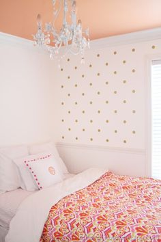 A Thoughtful Place : Gold Polka Dot Wall + Coloured Ceiling Cute Toddler  Room. Wonder