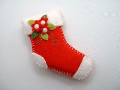 Felt Christmas Stocking Pin via Etsy