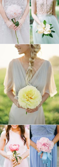 I like the idea of each bridesmaid carrying a different, single LARGE flower.  That is pretty cool
