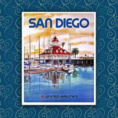 "San Diego Vintage Travel Print 12x16"" --A69"