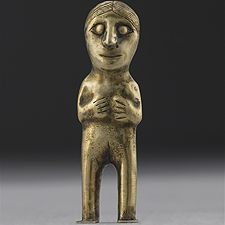 Gold capacocha figurine  Peru, 13th-16th century...Miniature figurines wrought in hammered gold were handed over as offerings to accompany human sacrifices during the ritual of capacocha, meaning royal sin or obligation.