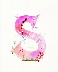 Letter S Watercolour Monogram Print by DesignBySoo on Etsy