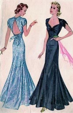 1930s, occasion dress, glamour, vintage, pattern, fashion, style, open back